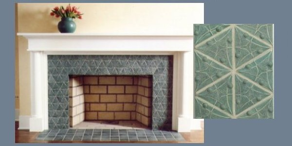 fireplace surround with detail peapod tile