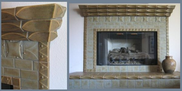 fireplace with detail profile liner